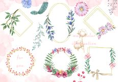 Watercolor flowers set. Colorful floral collection with leaves and flowers, Frame design for invitation, wedding or