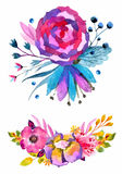 Watercolor flowers set. Colorful floral collection with leaves a Stock Images