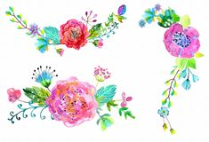 Watercolor flowers set Royalty Free Stock Photo