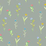 Watercolor flowers  spring seamless pattern Stock Photo