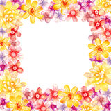 Watercolor flowers square frame. stock illustration
