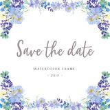 Watercolor flowers with text banner, lush flowers aquarelle hand painted isolated on white background. Design border for card, sav vector illustration