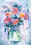 Watercolor flowers in a vase. Stock Photos