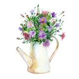 Watercolor flowers in vase. Stock Photo