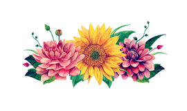 Watercolor flowers vector. Floral bouquet clip art Royalty Free Stock Photography