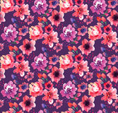 Watercolor flowers on violet background Stock Photography