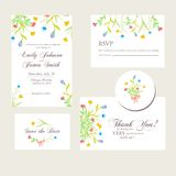 Watercolor flowers wedding invitations set Stock Photo