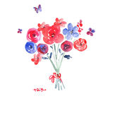 Watercolor flowers on a white background Stock Photos