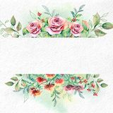 Watercolor flowers on white watercolor paper. Empty space for text. Illustration for greeting cards and invitations.Watercolor floral card template Stock Image