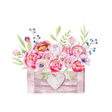 Watercolor flowers wooden box. Hand-drawn chic vintage garden ru Stock Photos