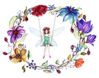 Watercolor flowers wreath and a fairy on a swing Royalty Free Stock Photos