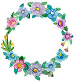 Watercolor flowers wreath. Hand painting watercolor flowers wreath. Perfect for greeting card or invitation Royalty Free Stock Photos