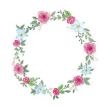 Watercolor flowers wreath. Watercolor painting of flowers wreath illustration Royalty Free Stock Photos