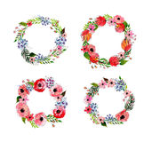 Watercolor flowers wreath set Royalty Free Stock Photos