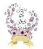 Watercolor flowers wreaths with ribbon for your text. Floral banner. Wedding invitation. Save the date card Stock Photo
