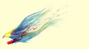 Watercolor flying eagle painting. An artistic watercolor painting of an eagle carrying its prey in flight with blood splattering Stock Image