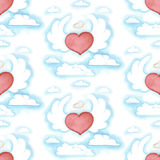 Watercolor flying heart with wings, seamless Royalty Free Stock Photos