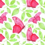 Watercolor flying pink butterflyl tropical exotic seamless pattern leaves stock illustration