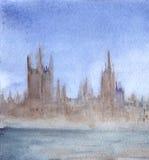 Watercolor fog town city cityscape landscape illustration.  Stock Images