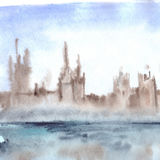 Watercolor fog town city cityscape landscape illustration Royalty Free Stock Photography
