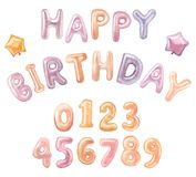 Watercolor foil balloons-letters and numbers vector illustration