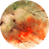 Watercolor foliage autumn fire vector background circle.  Royalty Free Stock Images
