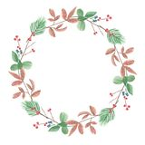 Watercolor Foliage Circle Wreath Winter Red Berries Leaves Festive Frame. Hand Painted Watercolor leaves and berries in frame border wreath, Christmas Holidays Stock Photo