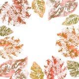 Watercolor foliage frame on white background. royalty free stock photo