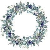 Watercolor Foliage Wreath Stock Photo