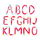 Watercolor font. Hand drawn alphabet . Watercolor letters decorated with small flowers Stock Photo