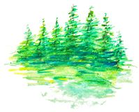 Watercolor Forest Landscape Royalty Free Stock Photo