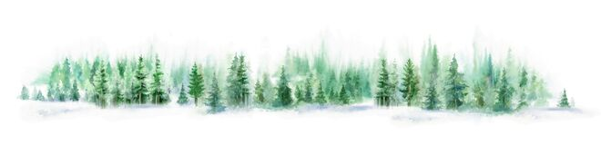 Free Watercolor Forest Landscape Panorama. Misty Blue Fir Forest. Wild Nature, Frozen, Misty, Taiga. Abstract Long Horizontal Royalty Free Stock Image - 186190596