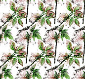 Watercolor forest pattern. Watercolor branches. Forest design. Seamless nature pattern Stock Photography