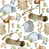 Watercolor forest pattern. stock image