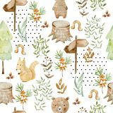 Watercolor forest pattern. royalty free stock images