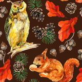 Watercolor forest wildlife seamless pattern. Stock Image