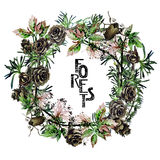 Watercolor forest wreath Stock Image