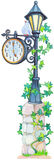 Watercolor forged lantern with a pointer and mechanical clock Stock Photos