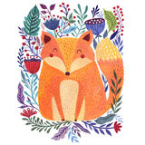 Watercolor fox and flower Royalty Free Stock Photos