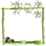 Watercolor frame of bamboo and bamboo leaves with stones and grass on a white background stock illustration