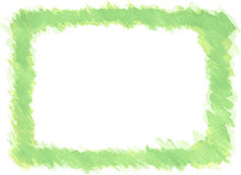 Watercolor frame border. Frame drawn with green watercolor Stock Photography