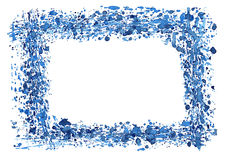 Watercolor frame border. Frame drawn with blue splashes of watercolor paint Royalty Free Stock Images