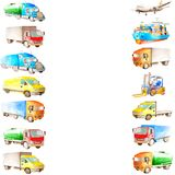 Watercolor frame border of cartoon cargo vehicle, transport, trucks and carriers, ship and plane with a white copy space. In the middle vector illustration