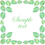 Watercolor frame with bright green leaves. Spring and summer frame with bright green leaves. Vector watercolor illustration Stock Photography