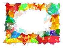Watercolor frame with cartoon triangles. Abstract watercolor frame with cartoon triangles Royalty Free Stock Images