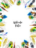 Watercolor frame with colorful feathers on white background royalty free stock photo