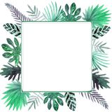 Watercolor frame of colorful tropical leaves. For invitations, greeting cards and Wallpapers. stock illustration