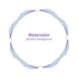 Watercolor frame, it consists of feathers, hand drawn. Royalty Free Stock Photo