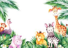 Watercolor frame with cute african cartoon animals.