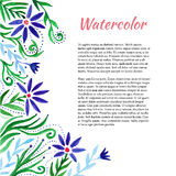 Watercolor frame with cute flowers. Floral background. Vector  template Stock Photos